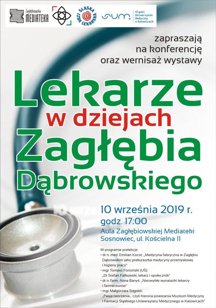 """Plakat konferencji medycznej """"Lekarze w dziejach Zagłębia Dąbrowskiego"""""""
